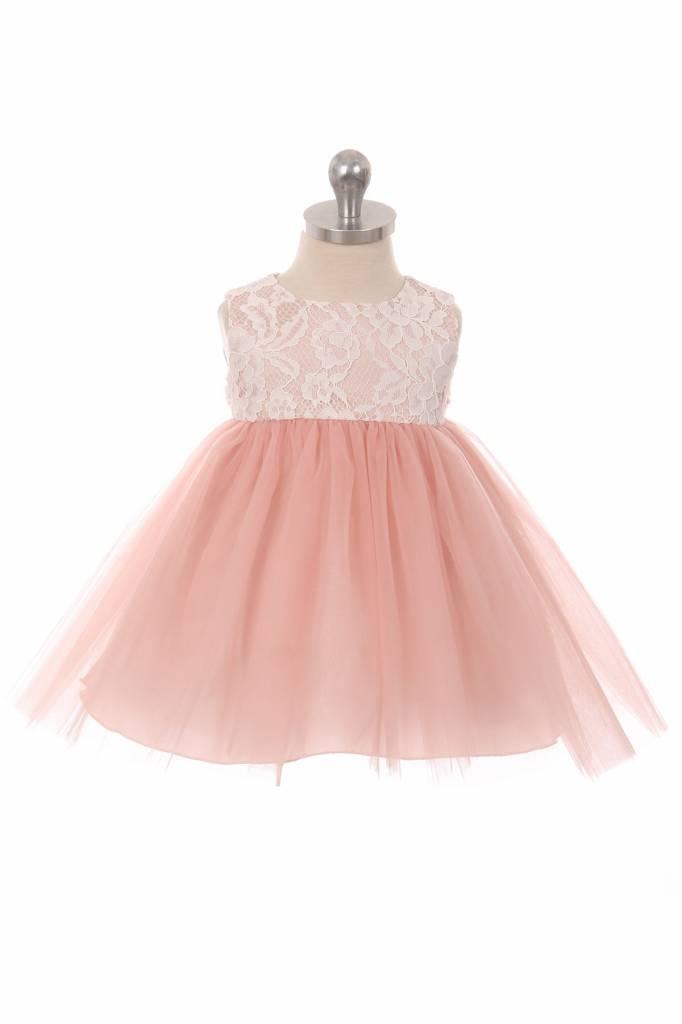 Baby feestjurk  Marlene roze met kanten bovenlijfje