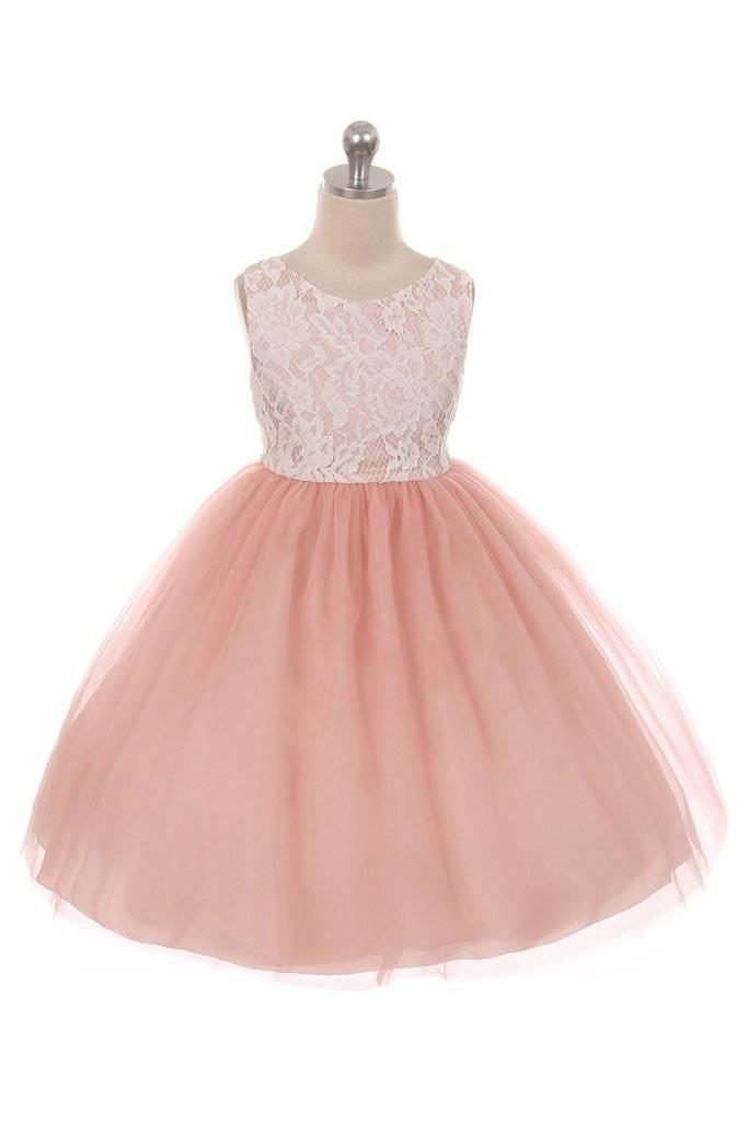 Bruidsmeisjes jurk feestjurk Marlene roze met kanten bovenlijfje