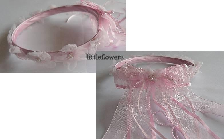 Haarkrans  roze met organza bloemetjes en parels