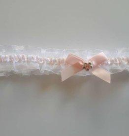 Hoofdbandje wit organza met roze strikje