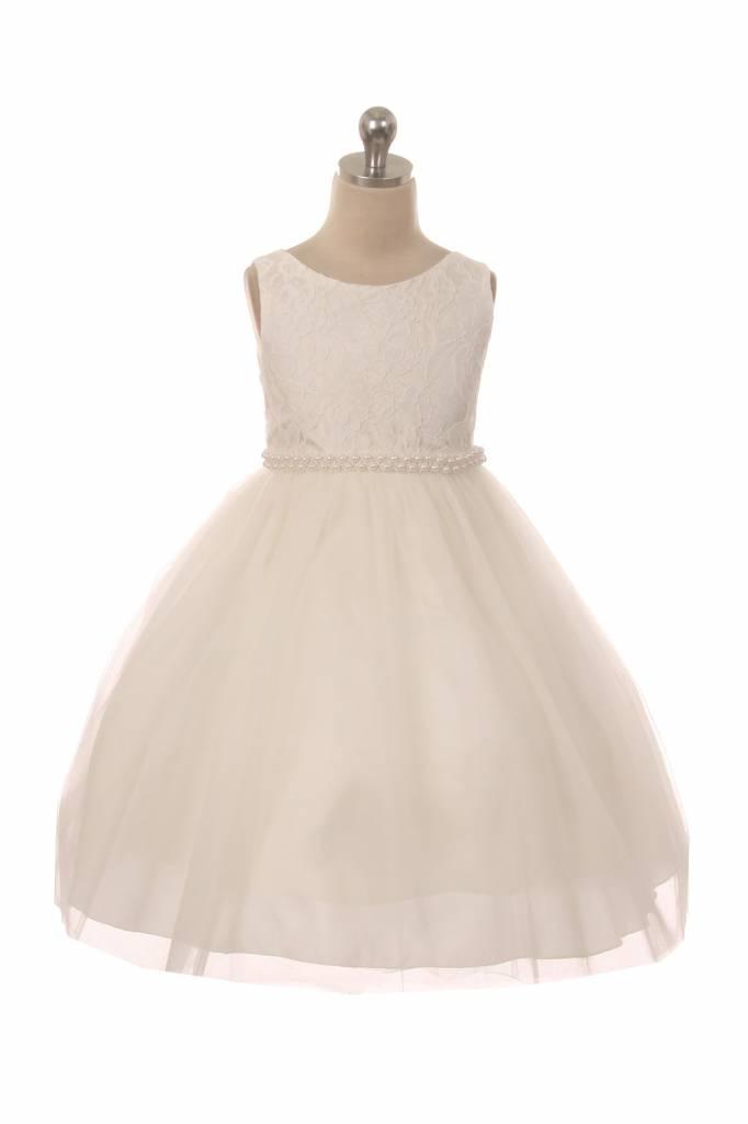Bruidsmeisjes jurk Lize ivoor met parelrand
