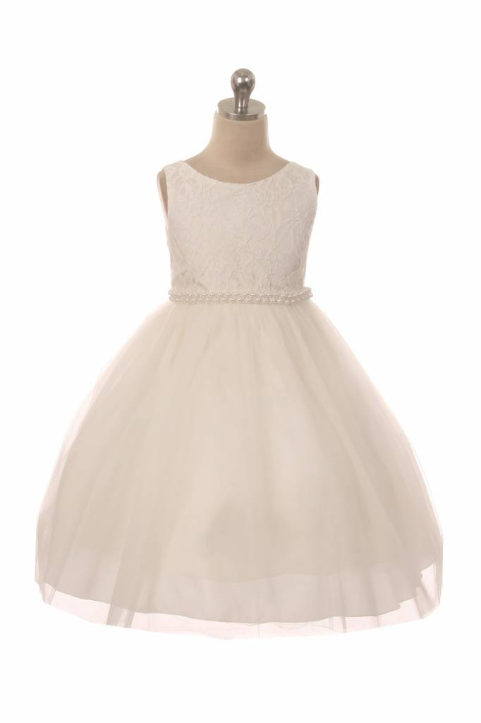 Bruidsmeisjes jurk Marlene ivoor met parelrand