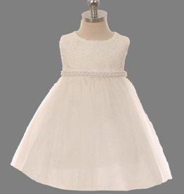 Baby jurk Lize off-white met parelsnoer
