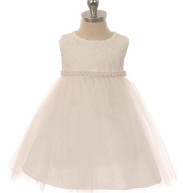 Baby jurk Lize ivoor met parelsnoer