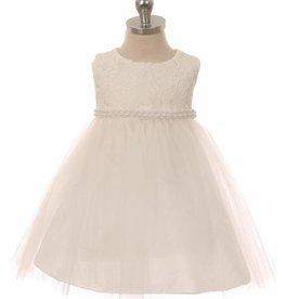 Baby jurk Marlene ivoor met parelsnoer