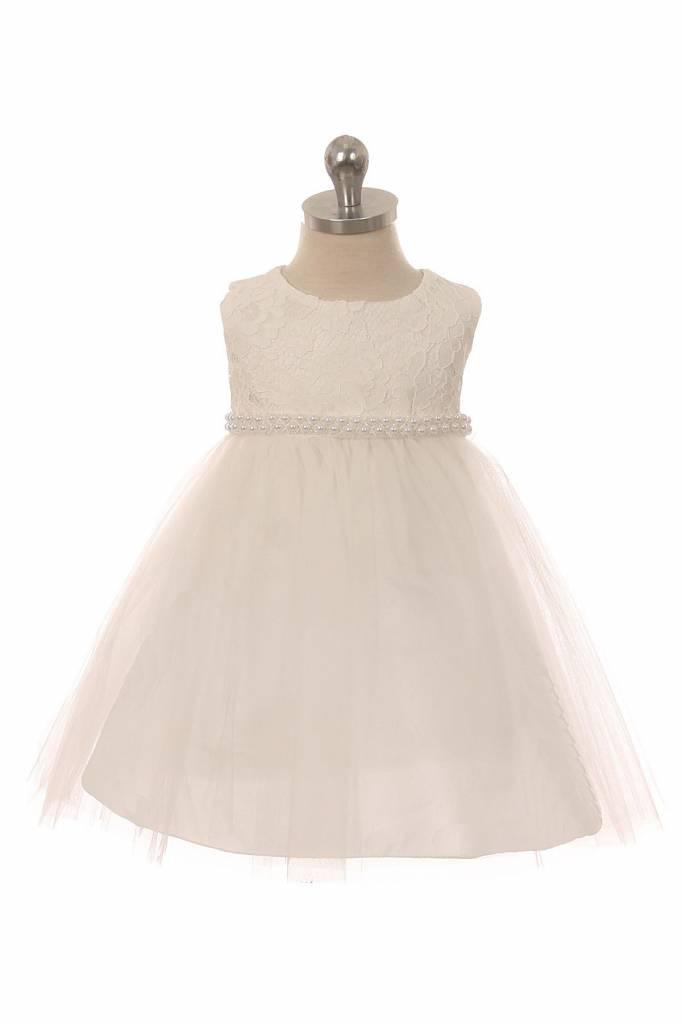 Baby jurk doopjurk Lize ivoor met parelsnoet
