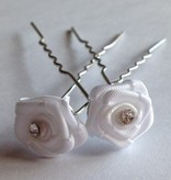 Haarsteker wit satijn roosje met strass