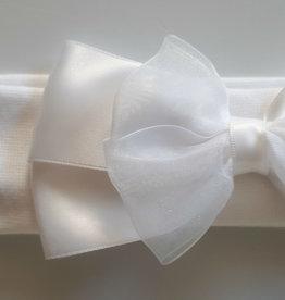 Tricot hoofdbandje  wit met strik