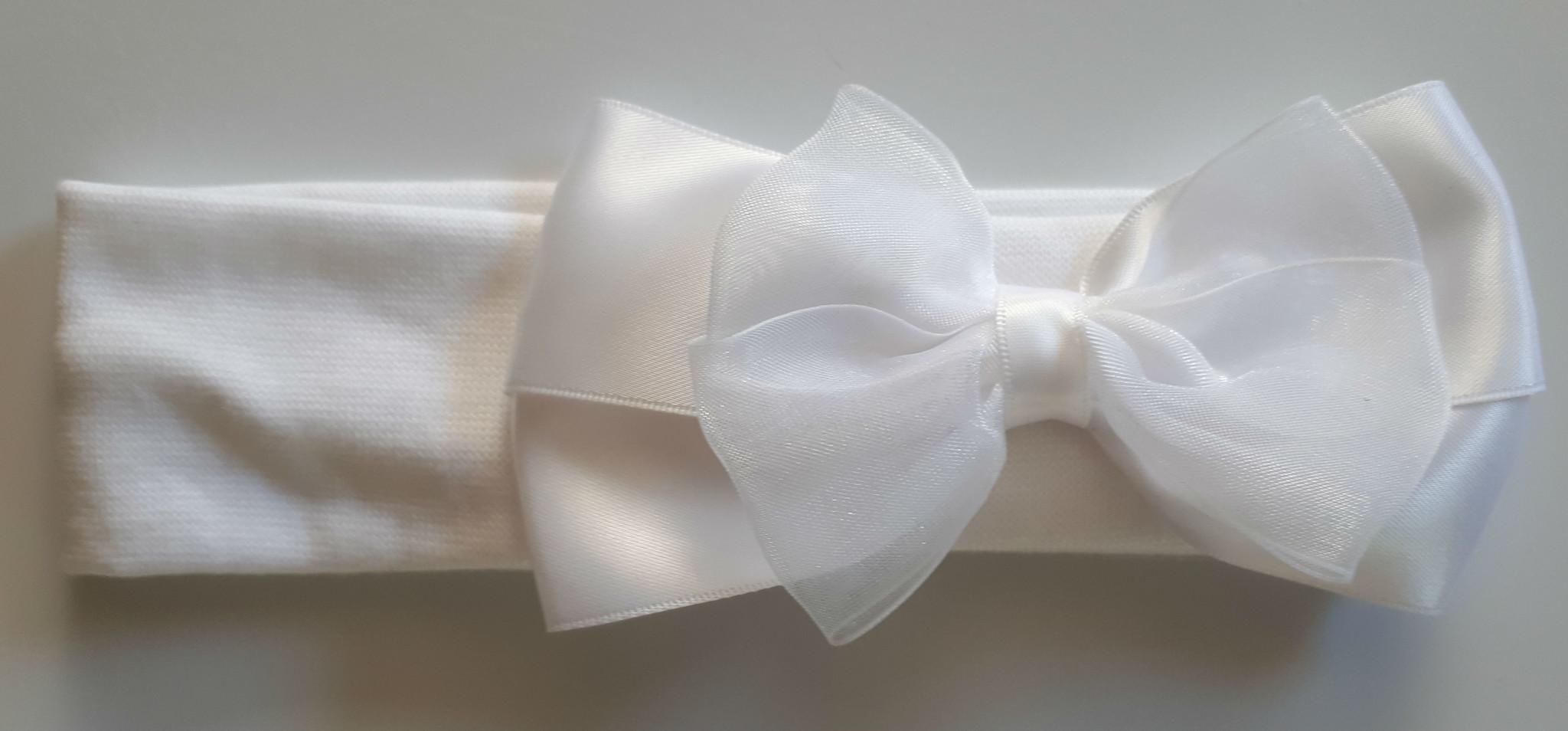 Tricot hoofdbandje  wit met satijn - organza strik
