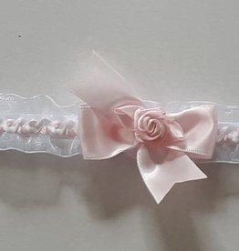 Baby hoofdbandje wit met roze strik en roosje