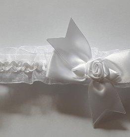 Baby hoofdbandje wit met strik en roosje