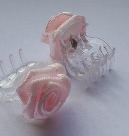 Haarroosje roze op clip