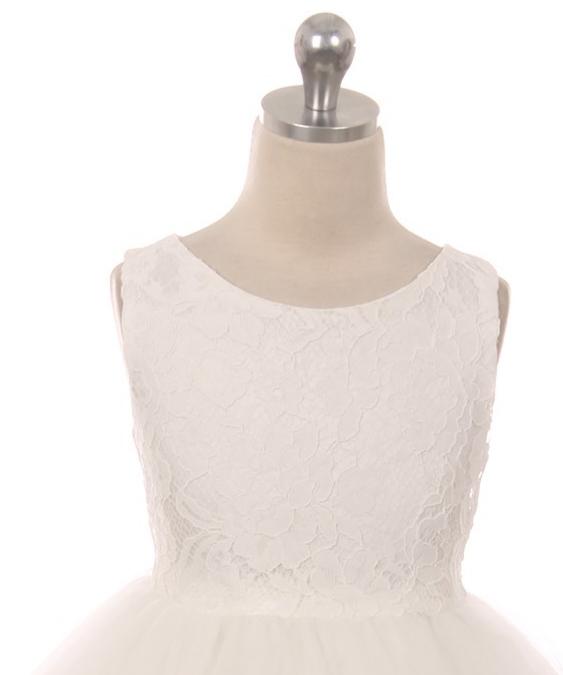 Bruidsmeisjes jurk Lize ivoor met kant