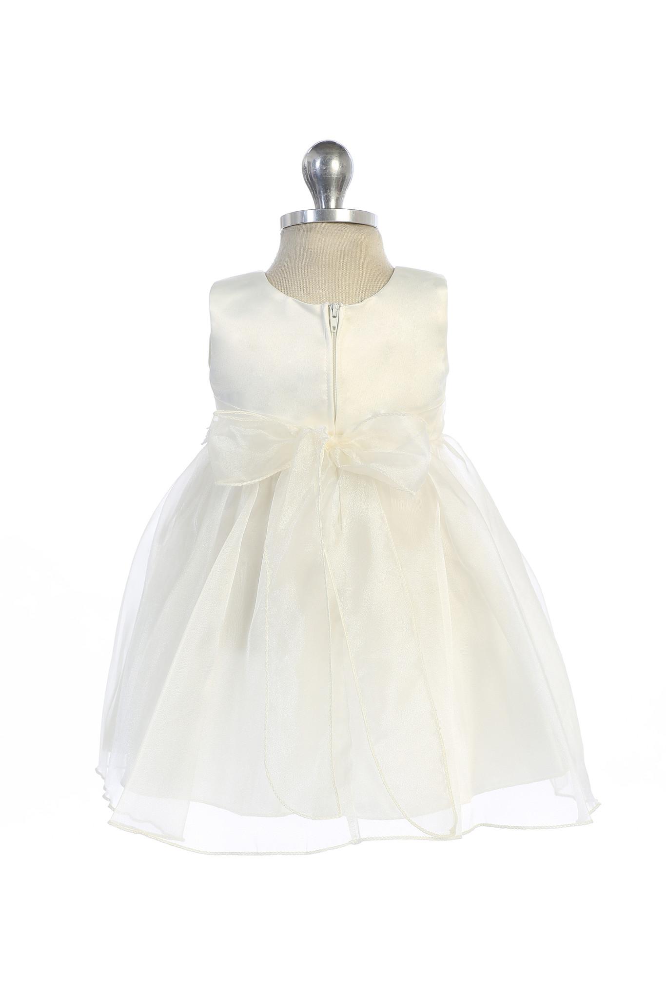 Bruidsmeisjes jurk Lize ivoor met parelsnoer