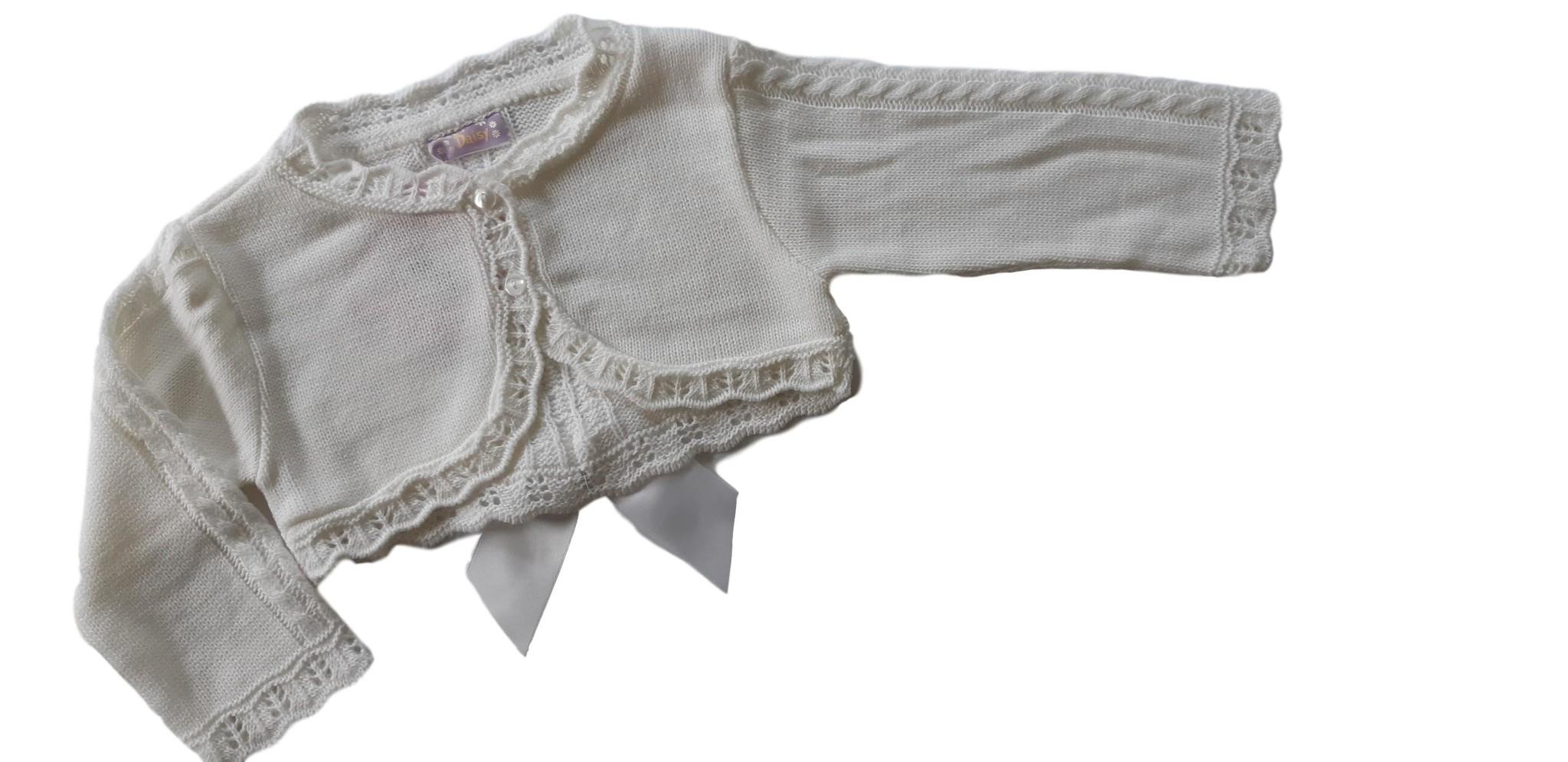 Vestje Jekse wit met satijnen strik