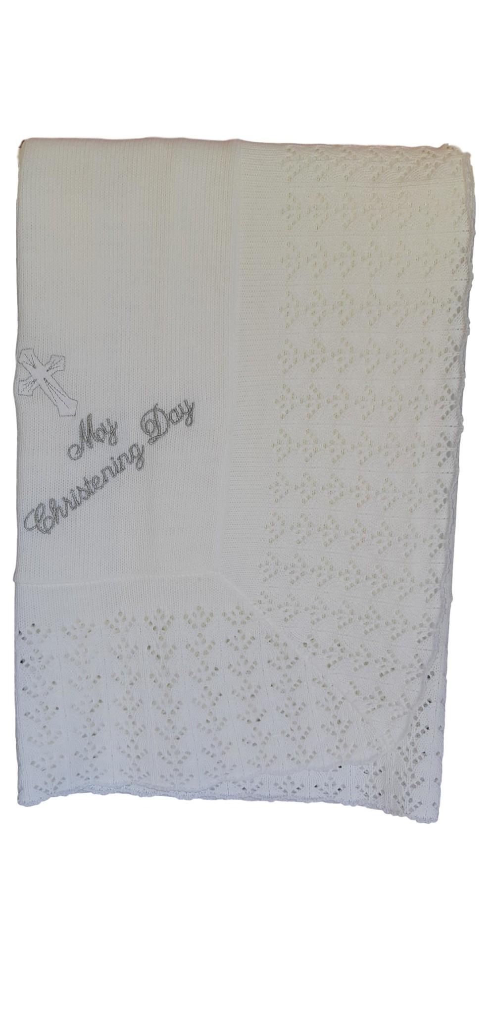 Doopkleed wit met zilverdraad geborduurde tekst