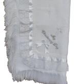 Doopkleed wit met kant en satijn lint