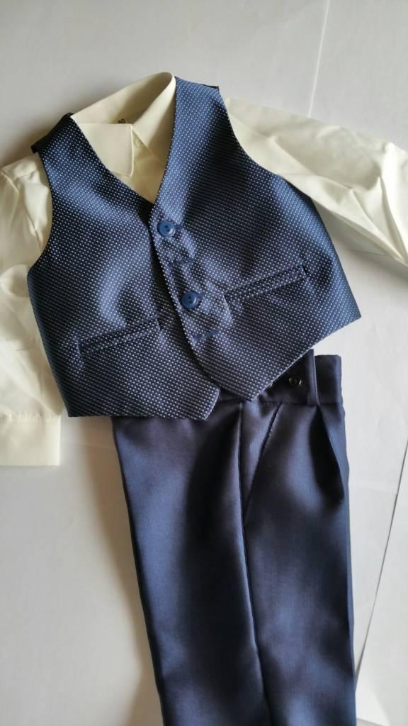 Broek middenblauw met ingeweven glansstreepje