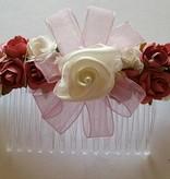 Haarkam roze bloemen met ivoor