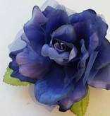 Satijnen roos koningsblauw