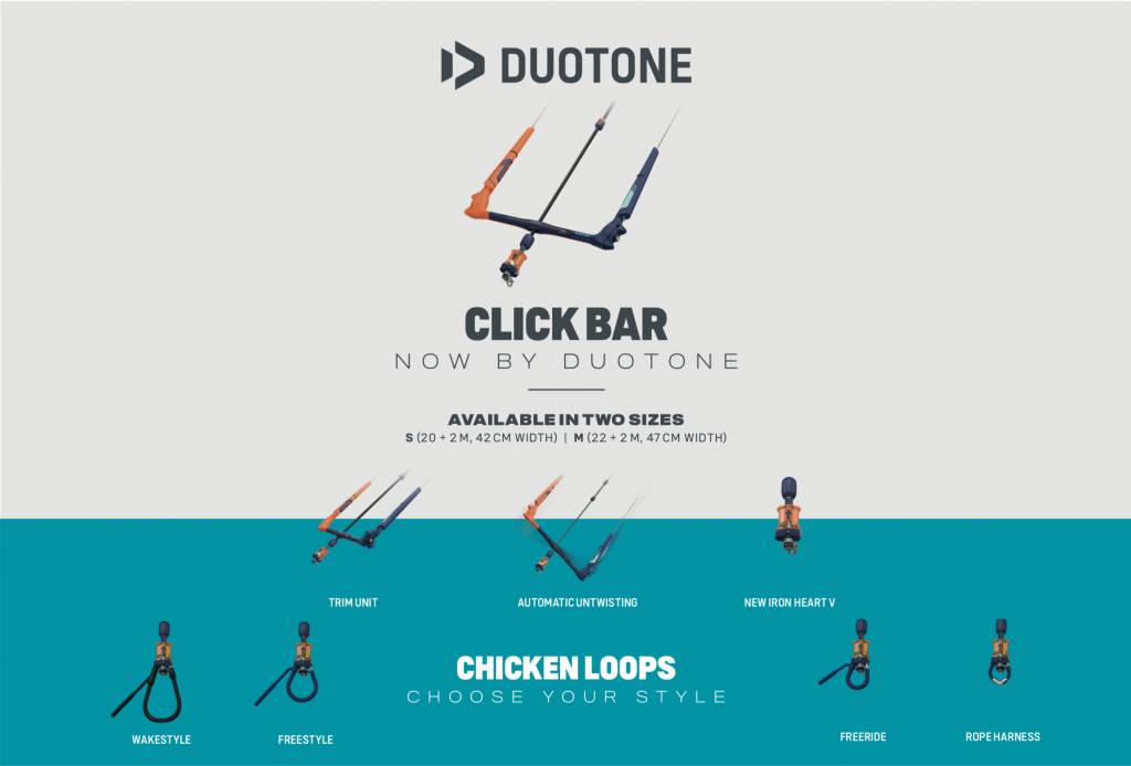 DUOTONE CLICK KITE BAR QUAD CONTROL 22-24 METER Kitesurfen Bars QUICK RELEASE FREERIDE KIT