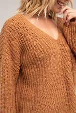 Rip Curl Woven V Neck Sweater Pecan Brown
