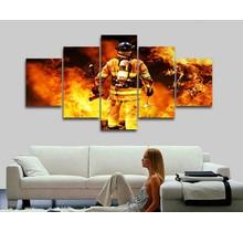 Canvas brandweerman 5-delig