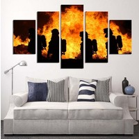 Canvas forest fire 5 pieces