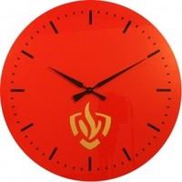 Clock fire department logo under