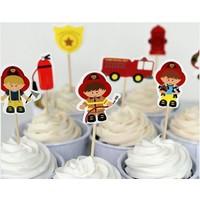 Fire brigade cake toppers set of 8 sticks