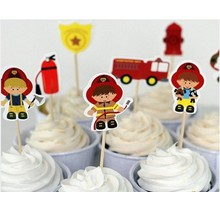 Fire brigade cake toppers set of 8 sticks