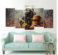 Canvas firefighter with breathing air cylinder 5 parts