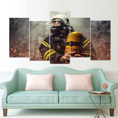 Canvas brandweerman met ademluchtcilinder 5 delig