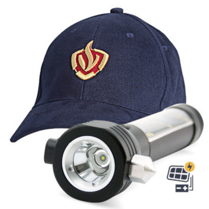 Fire department cap + Rescue flashlight