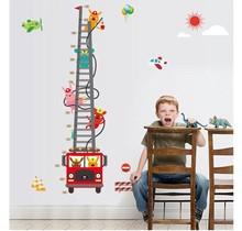 Wall sticker growth chart fire engine