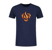 T-shirt logo in flames