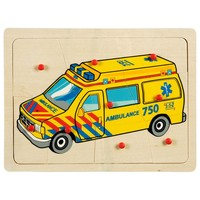 Wooden puzzle ambulance