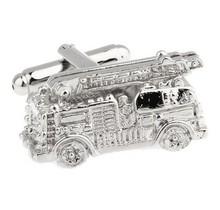 Silver firetruck cufflinks