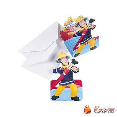 Fireman Sam invitations 8 pcs