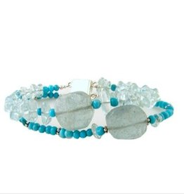 Bracelet natural turquoise and aquamarine