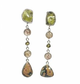 Kiliaan collectie Earrings tourmaline,  ocean jasper and topaz