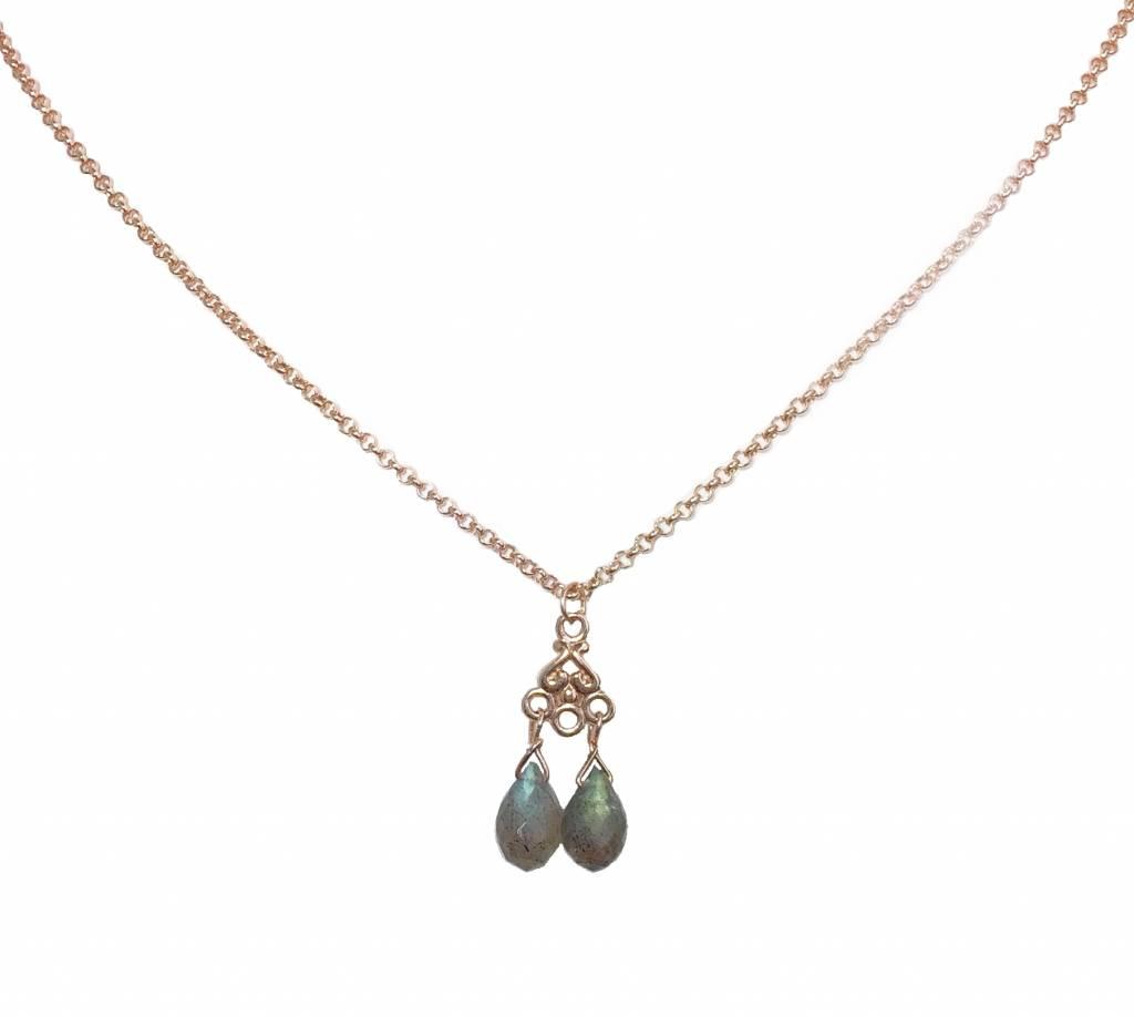 Necklace  labradorite drops