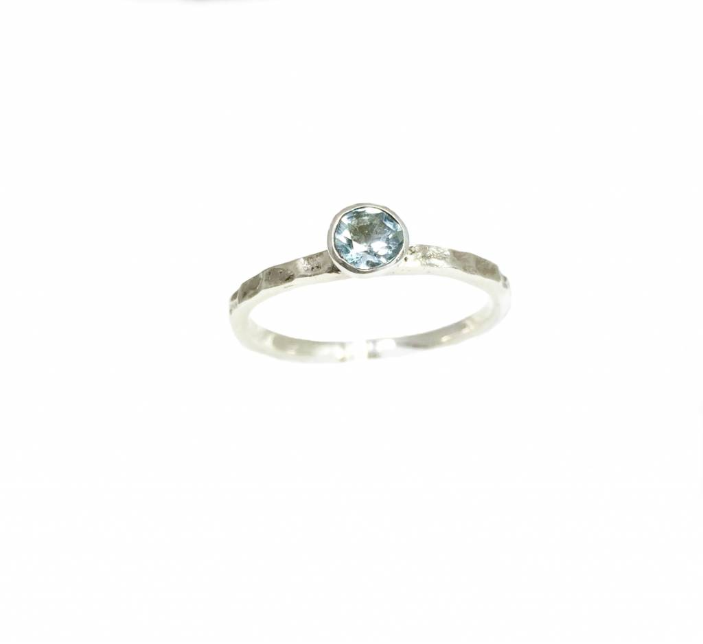 Stackable rings stapelring Sky blue topaas, zilver
