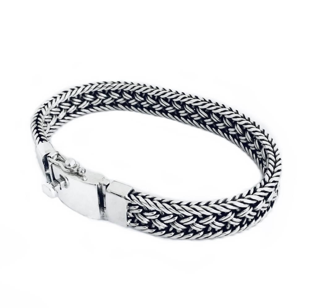 Zilveren gevlochten armband, plat