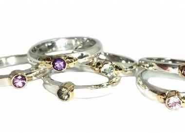 Ring zilver met gouden detail