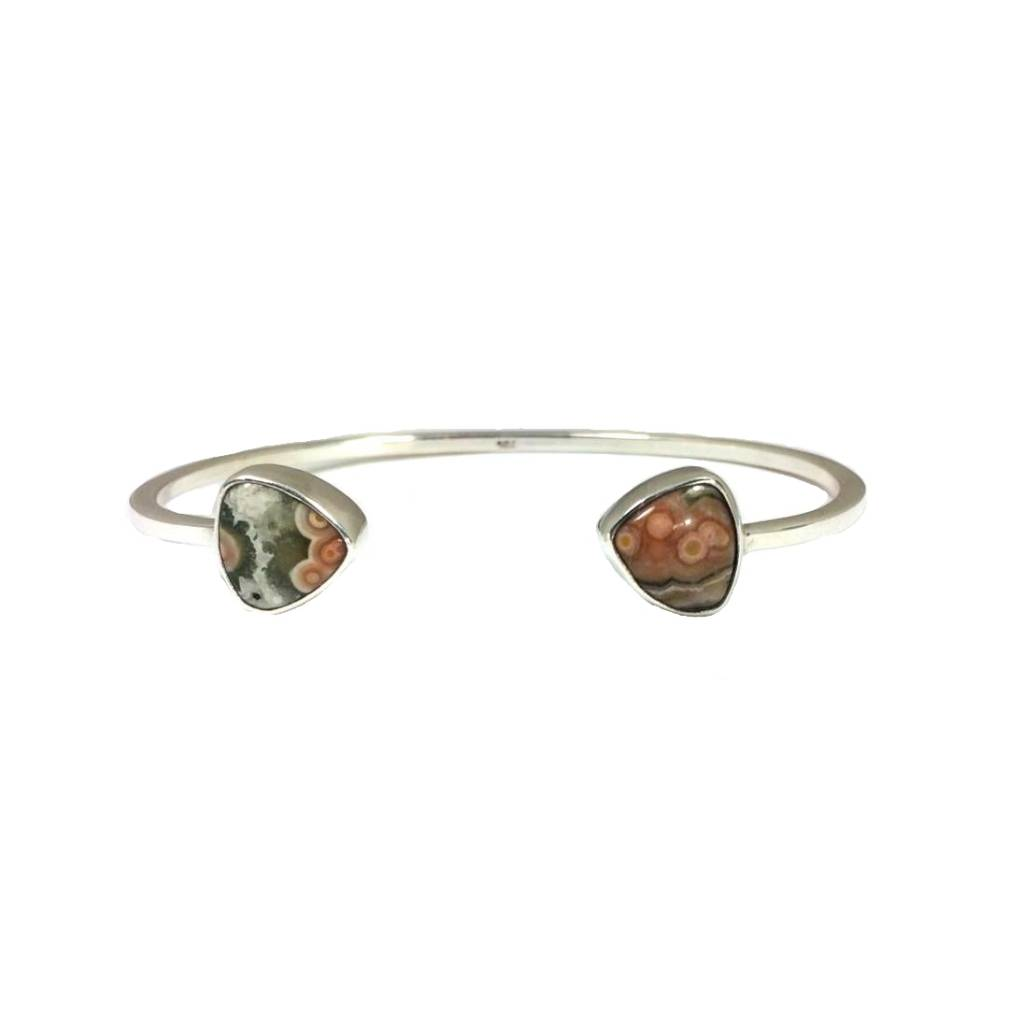 Cuff bracelet sterling silver with ocean jasper, tri-angle