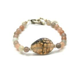 Armband agaat en maansteen