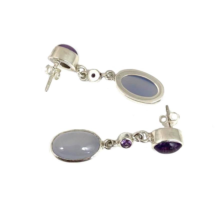 Kiliaan Jewelry Collectie Oorbellen amethist, paars saffier en blauw chalcedoon