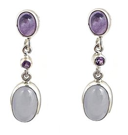 Kiliaan collectie Earrings amethyst, sapphire and chalcedony