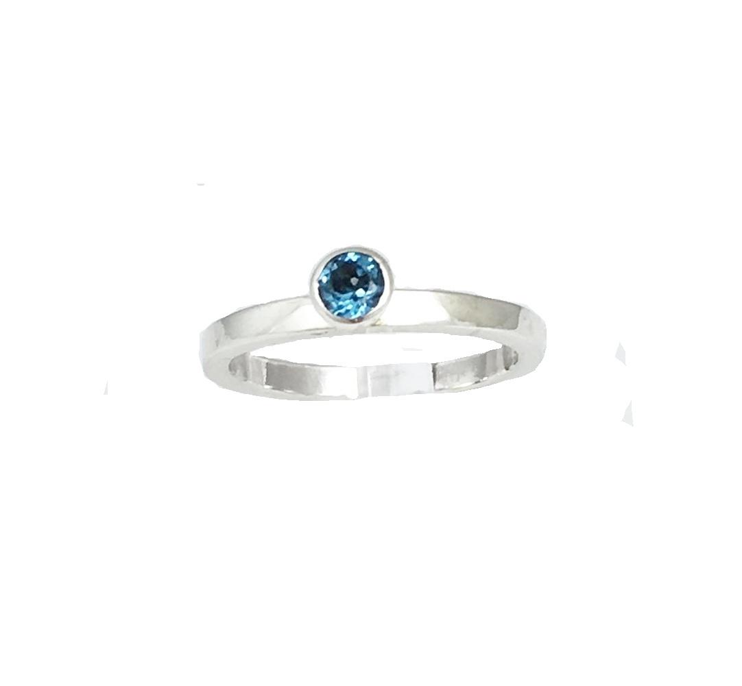 NJ Bali stack rings Swiss blue topaas - gladde ring